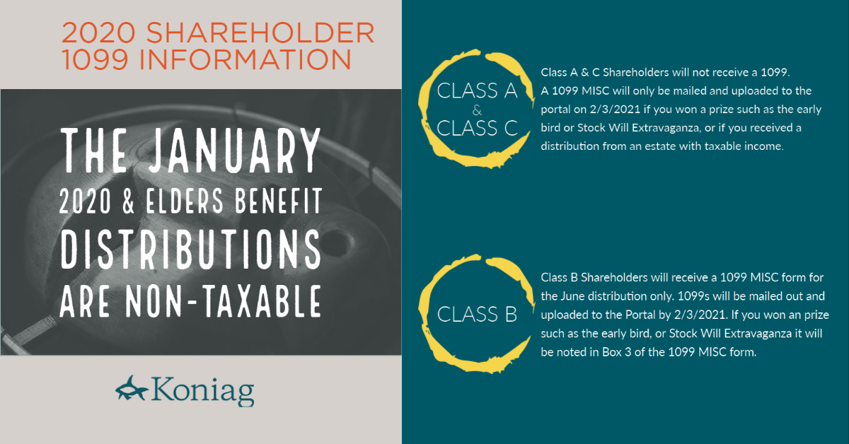 Shareholder 1099 Information Both the January 2020 and the Elders Benefit checks are NON-TAXABLE. This means that: Class A & C Shareholders will not receive a 1099. A 1099 MISC will only be mailed and uploaded to the portal on 2/2/2021 if you won a prize such as the early bird or Stock Will Extravaganza, or if you received a distribution from an estate with taxable income. Class B Shareholders will receive a 1099 MISC form for the June distribution only. 1099's will be mailed out and uploaded to the Portal by February 2, 2021. If you won an prize such as the early bird, or Stock Will Extravaganza it will be noted in box 3 of the 1099 MISC form.